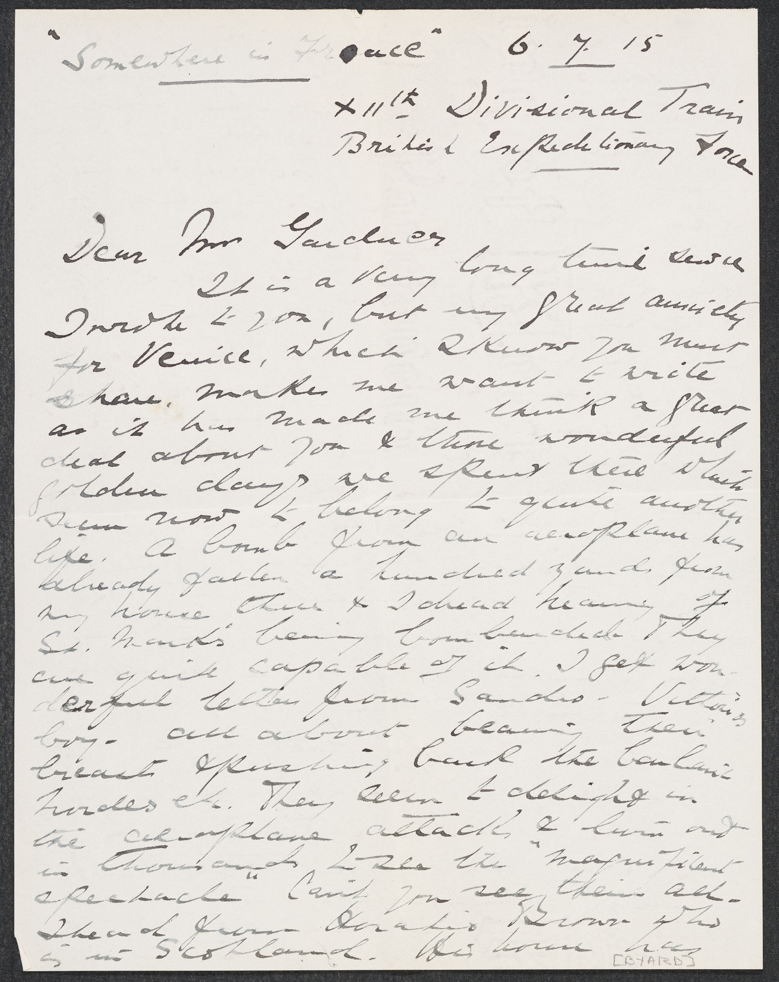 Letter to Isabella Stewart Gardner from France with Enclosed