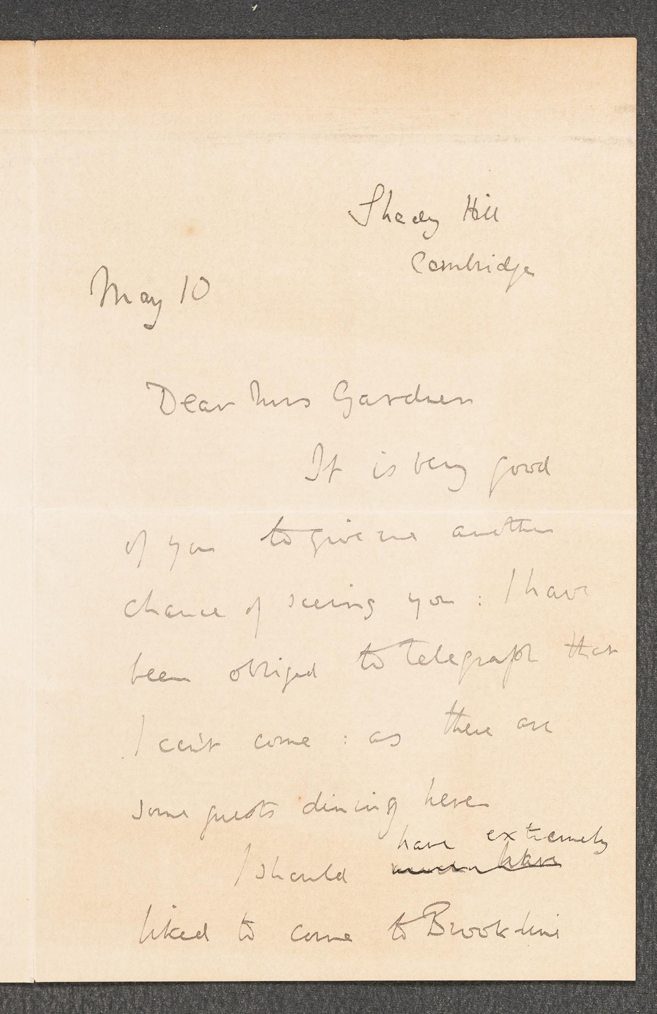 Letter to Isabella Stewart Gardner from Cambridge