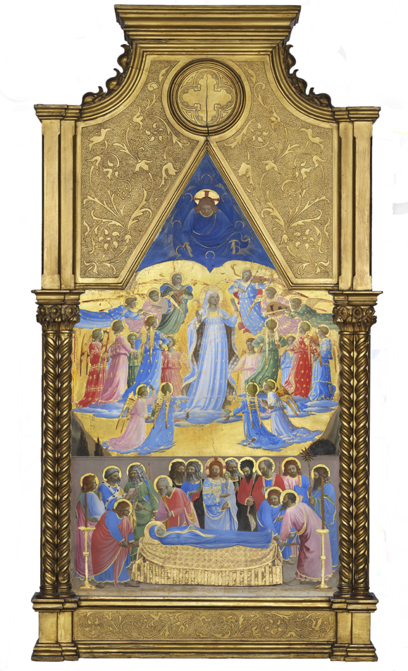 Fra Angelico (Italian, about 1400-1455), The Dormition and Assumption of the Virgin, 1424-1434. Tempera with oil glazes and gold on panel, 85.7 x 45.1 cm (33 3/4 x 17 3/4 in.)