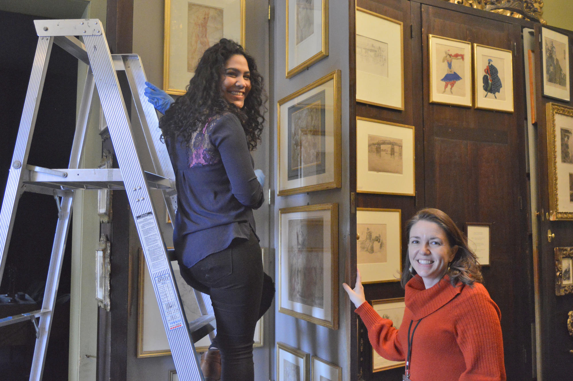 Gardner Ambassador Katherine Garcia takes measurements for an upcoming Conservation project with Holly Salmon, John L. and Susan K. Gardner Director of Conservation.