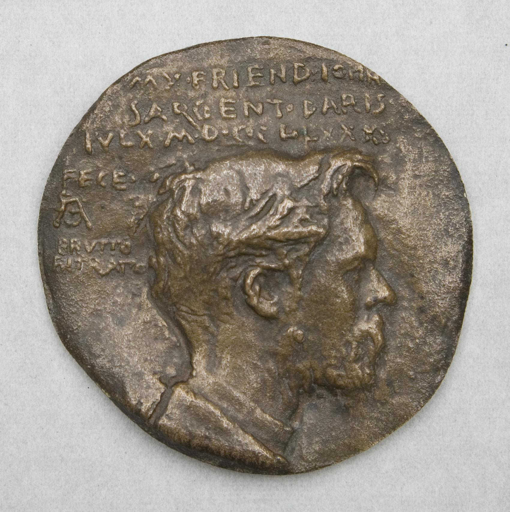 Augustus Saint-Gaudens (American, 1848-1907), Medal of John Singer Sargent (1856-1925), 1880