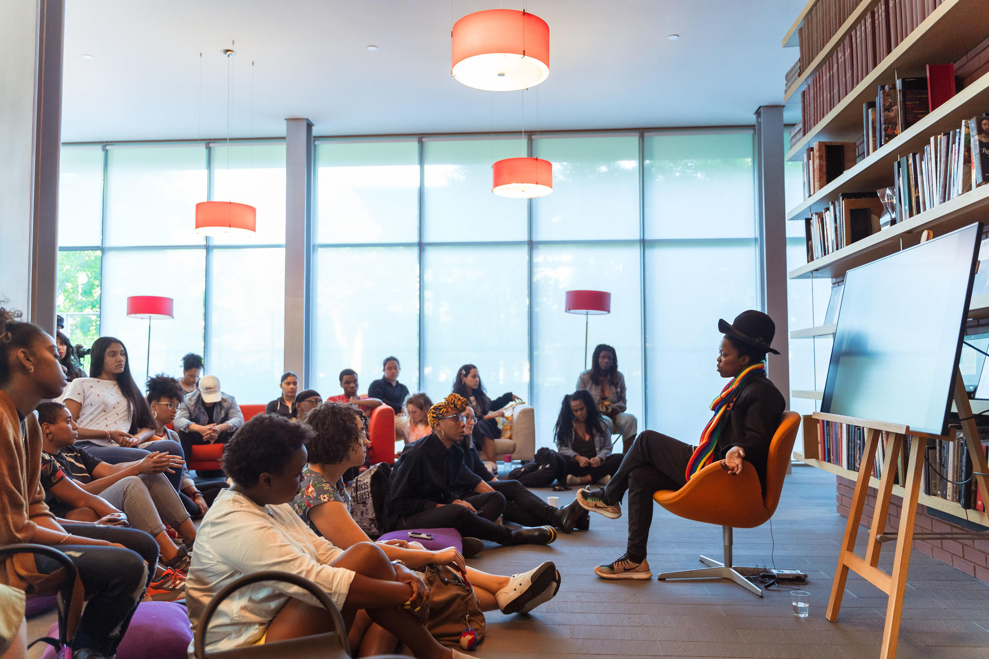Artist-in-Residence Zanele Muholi gives a talk in the Living Room in 2019, photo by Faizal Westcott