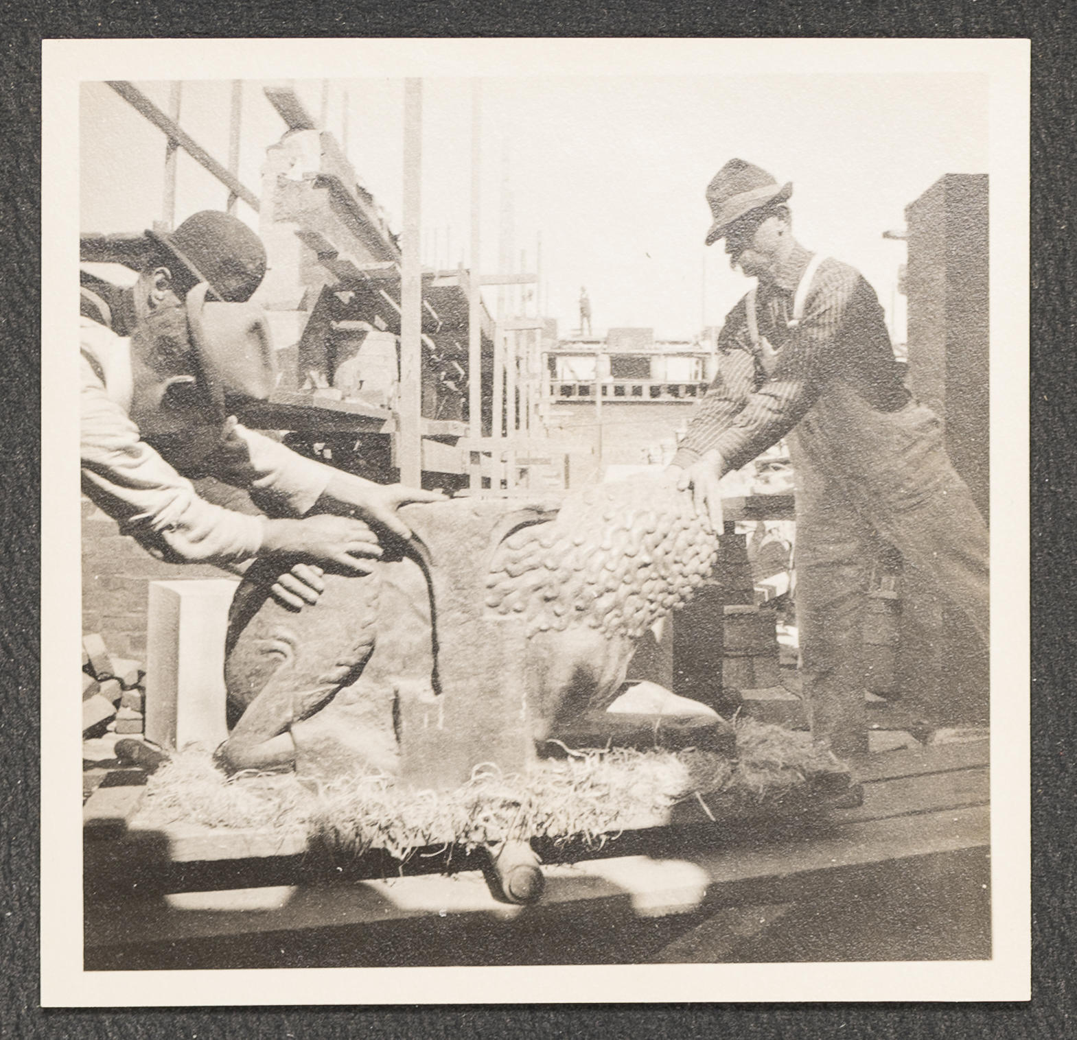"Isabella Stewart Gardner, Fenway Court During Construction: Stylobate Lion, 1900, showing Teobaldo ""Bolgi"" Travi"