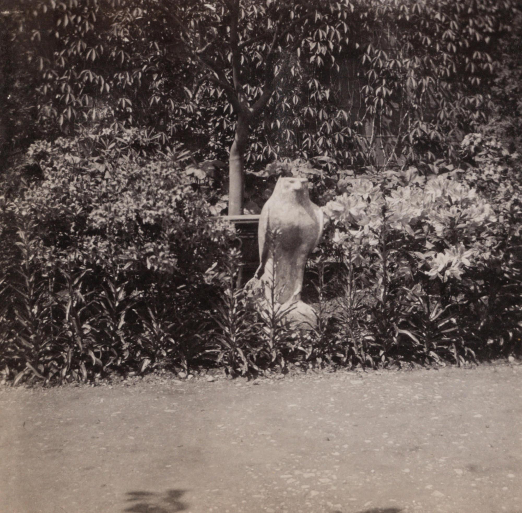 The 4th century BC, Egyptian sculpture, Horus, in the Italian Garden at Green Hill, 1898
