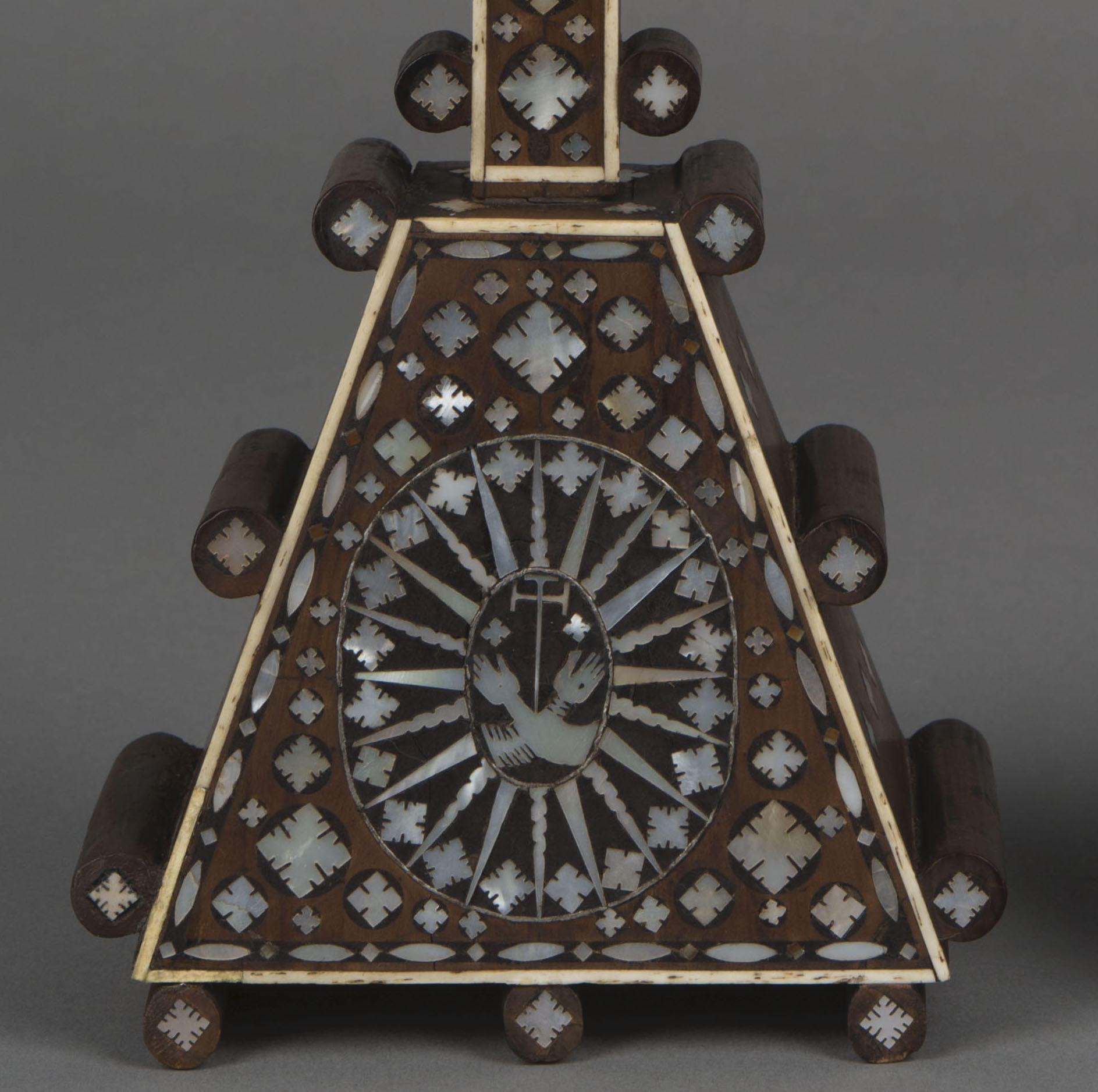 Italian, Venice, Cross, 17th century, showing a detail of the Franciscan Coat of Arms