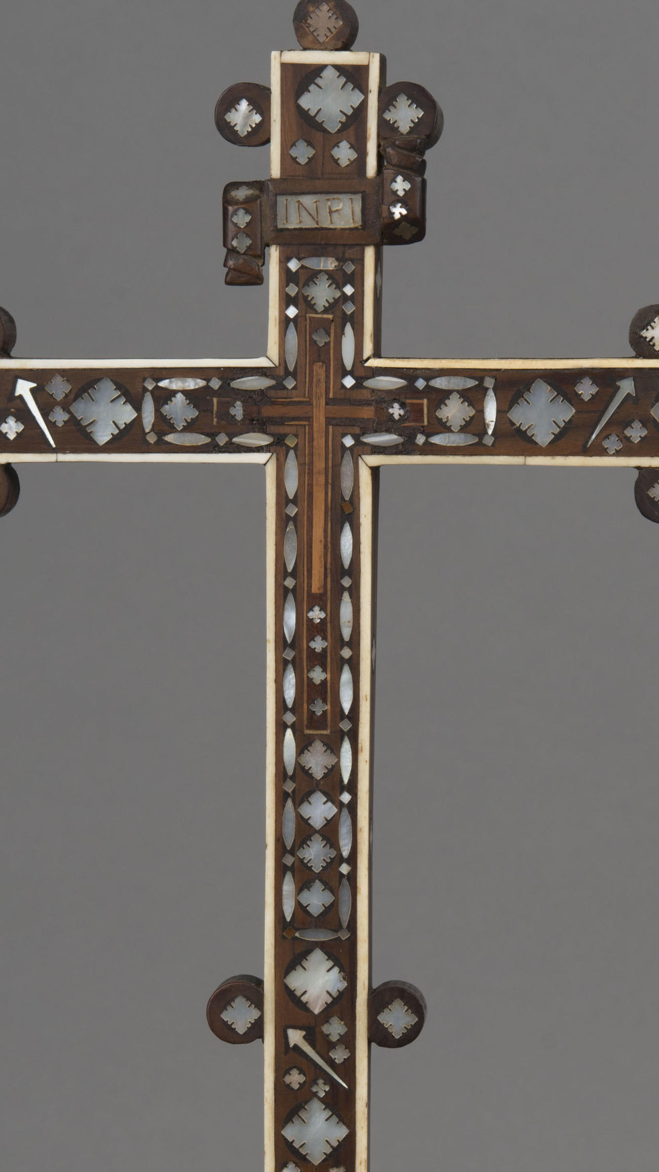 Italian, Venice, Cross, 17th century, showing a detail of the three nails