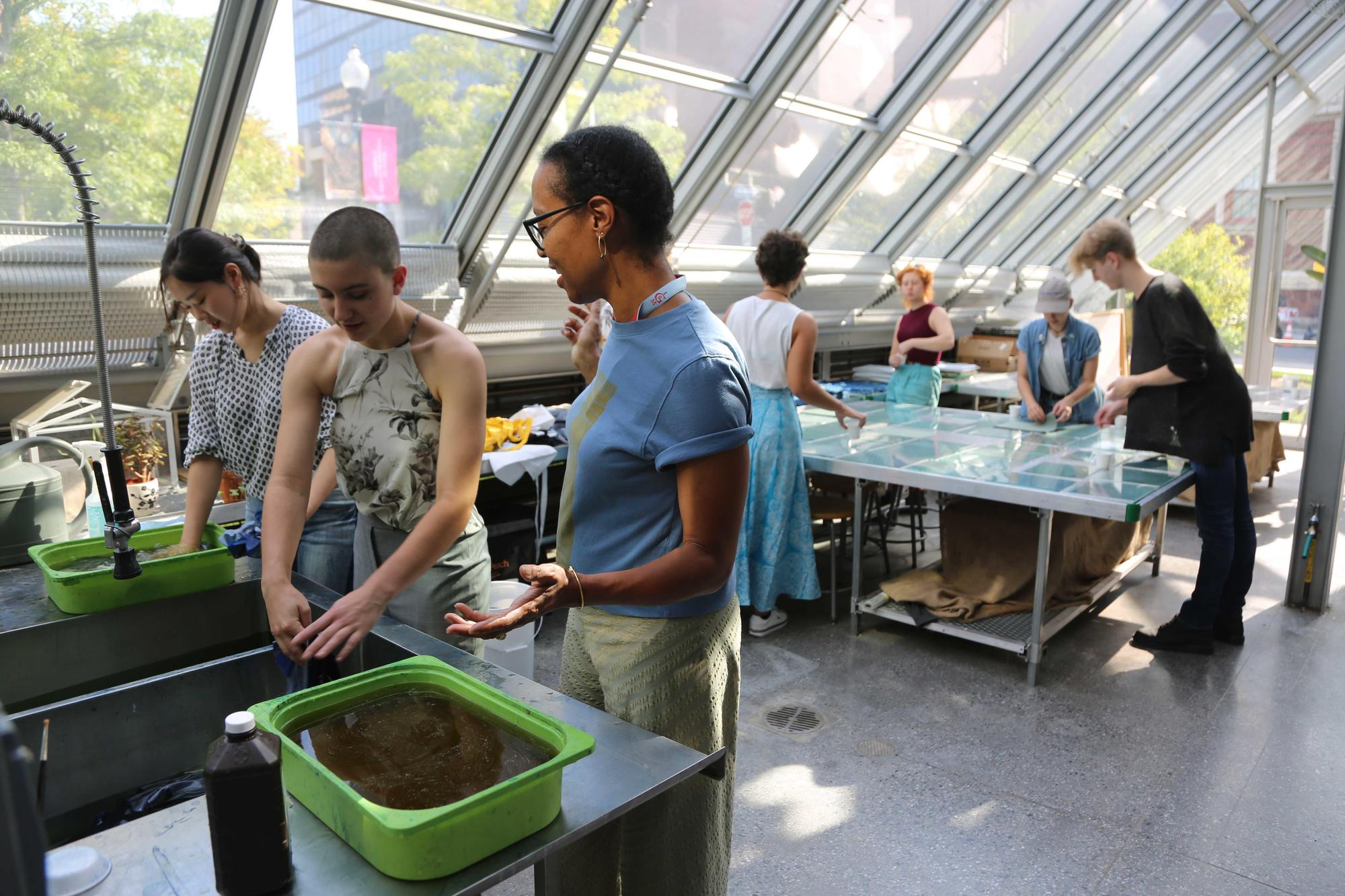 Sonya Clark and students from MassArt working on her cyanotype project in the Education Greenhouse, 2019