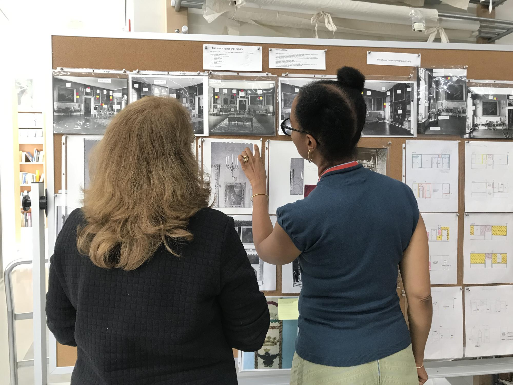 Sonya Clark discusses the Titian Room restoration with textile conservator, Tess Fredette, 2019
