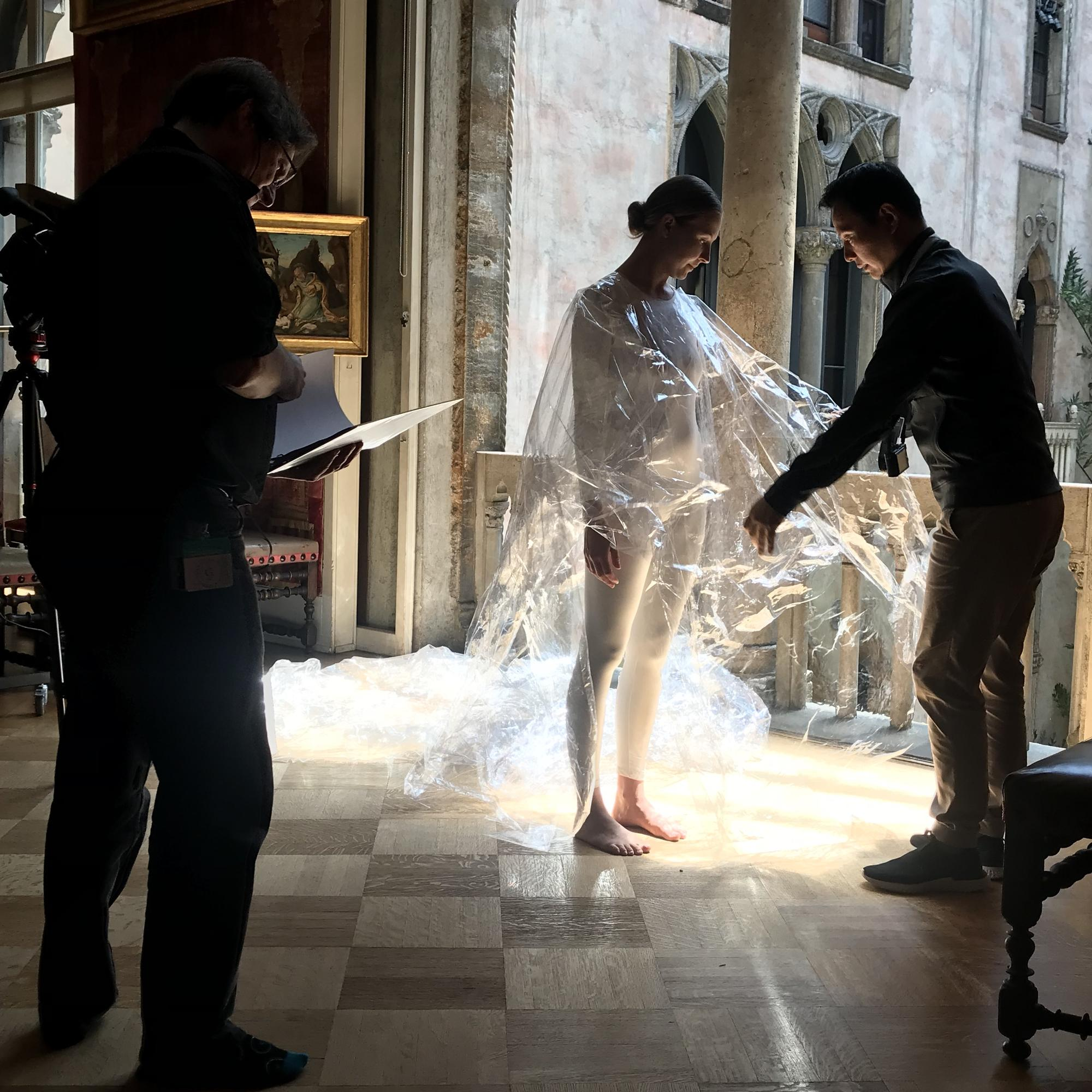 Shen Wei and dancer Lilly Balch preparing for a scene in Passion Spirit, 2019
