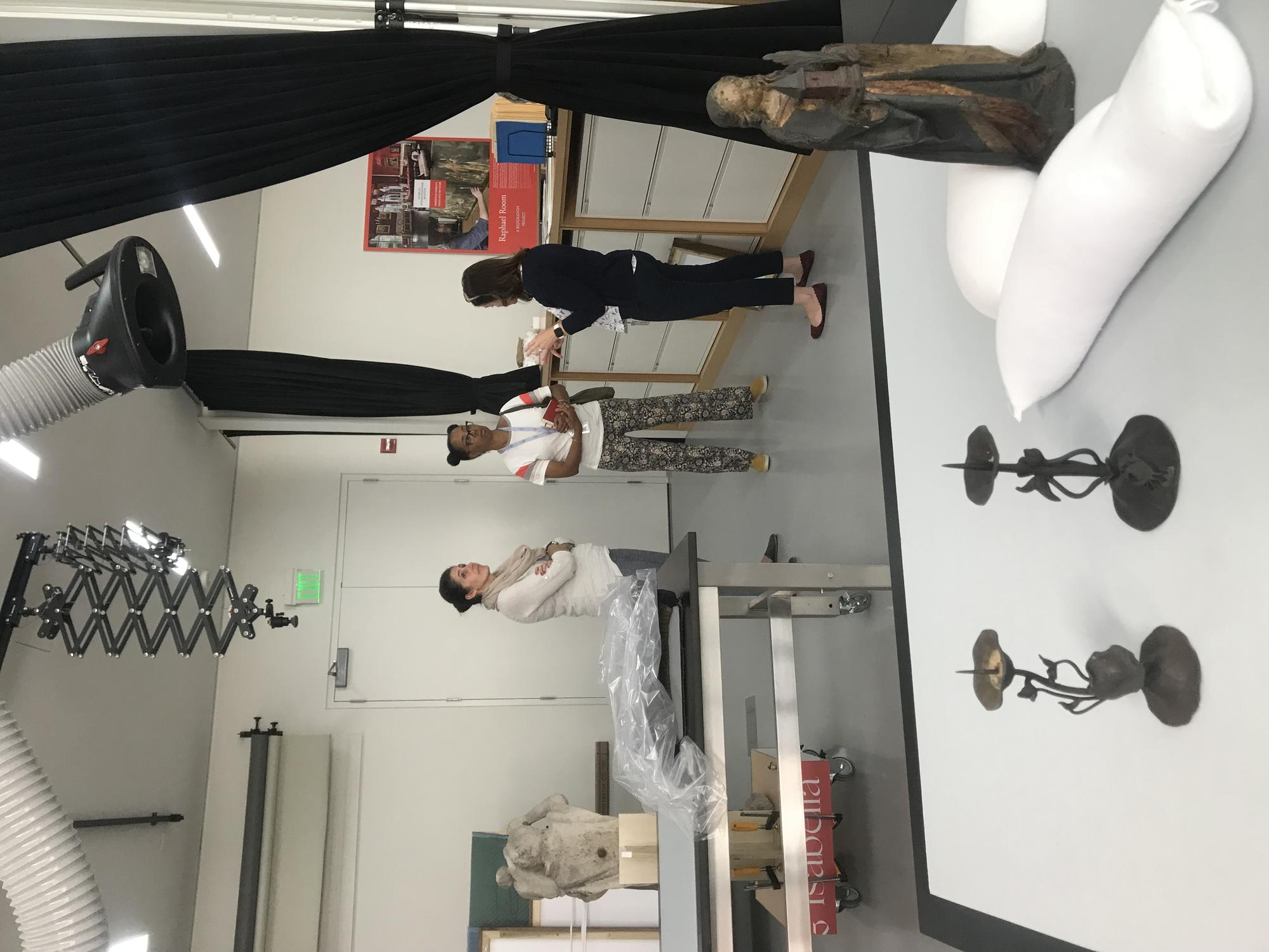 Sonya Clark visits the Object Conservation lab, 2019