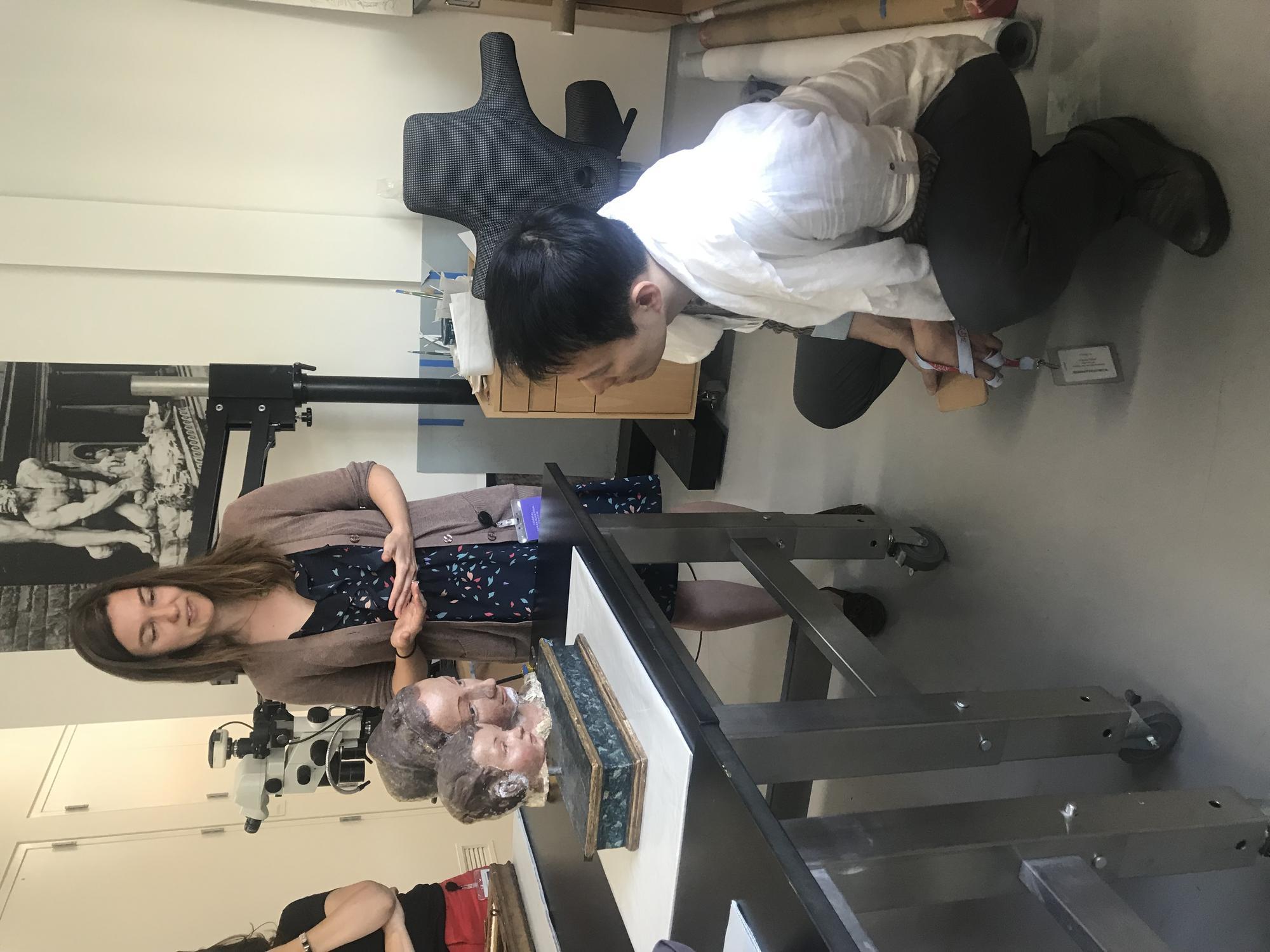 Shen Wei visiting Gardner object in conservation