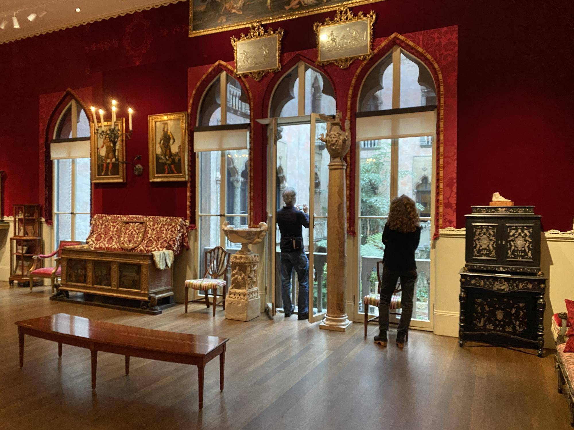 Mary Reid Kelley and Patrick Kelley exploring Raphael Room at the Isabella Stewart Gardner Museum