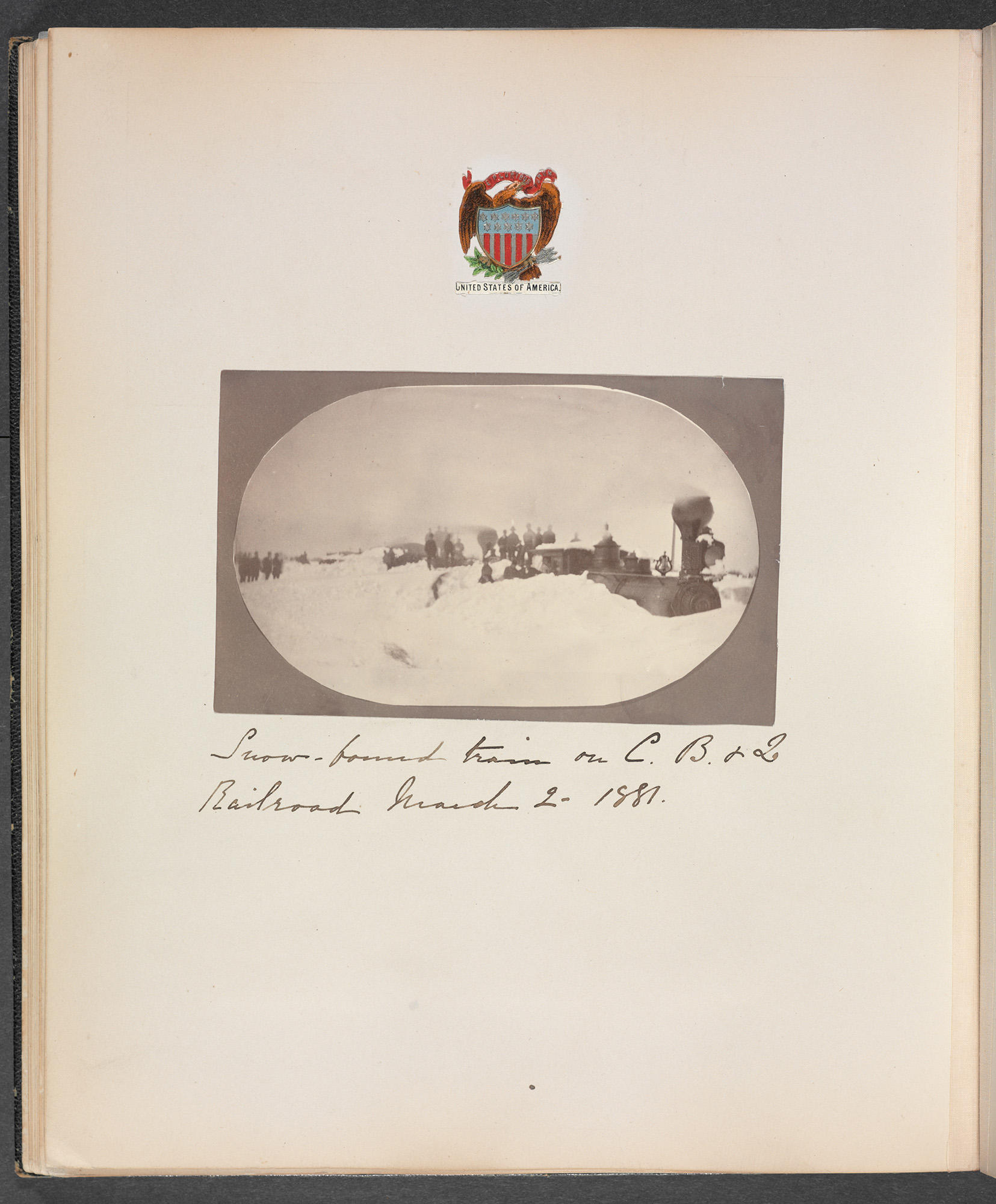 Isabella Stewart Gardner's Travel Album: Germany, Denmark, Norway, Sweden, Russia, Poland, the Western United States, Florida, Mexico, and Cuba, 1867–1886, page 21, showing the snowbound train