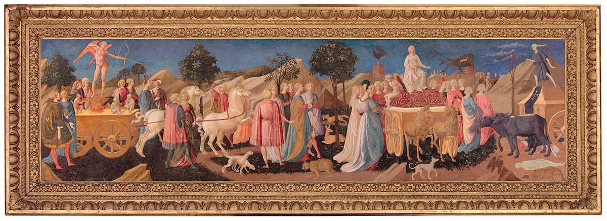 The Triumphs of Love, Chastity and Death. A painting by Francesco Pesellino.