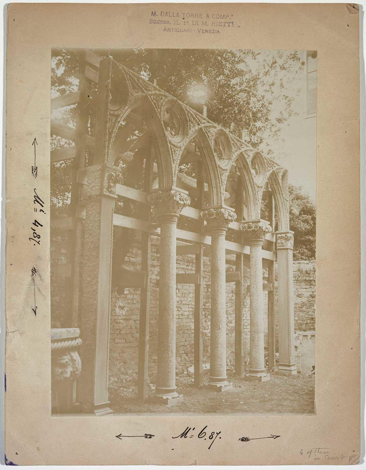 Photograph of Venetian stone arches that Isabella Stewart Gardner purchased from the antique dealer Moise Dalla Torre