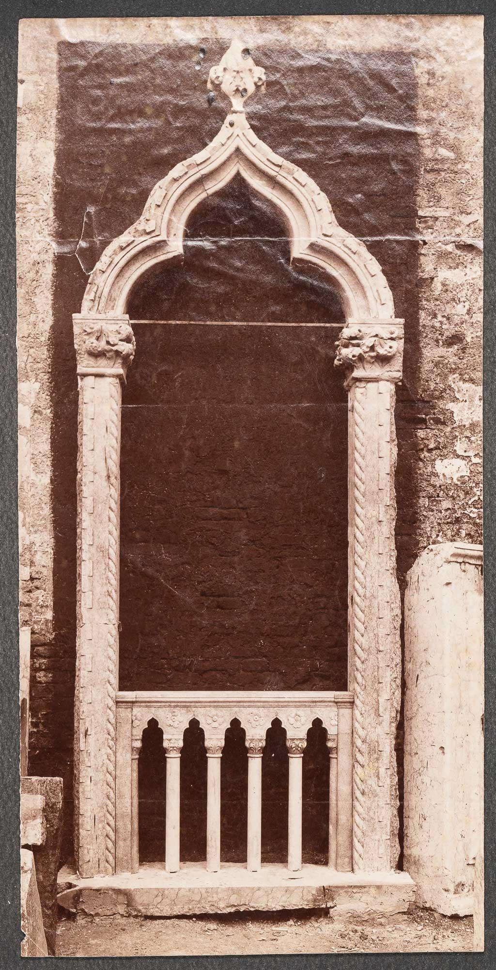Photograph of a Venetian window that Isabella Stewart Gardner purchased from the antique dealer Francesco Dorigo