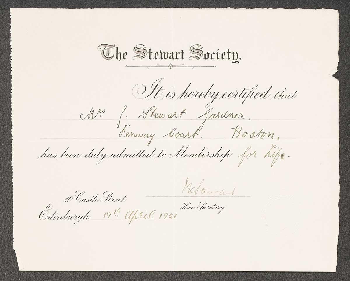 Isabella Stewart Gardner's lifetime membership certificate to the Stewart Society