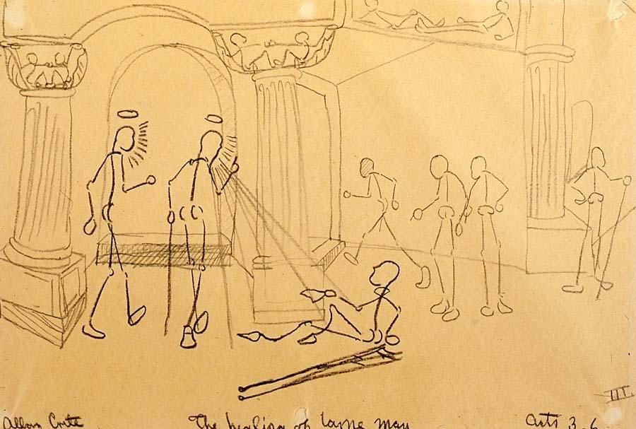 Allan Rohan Crite's Painting, The Healing of Lame Man
