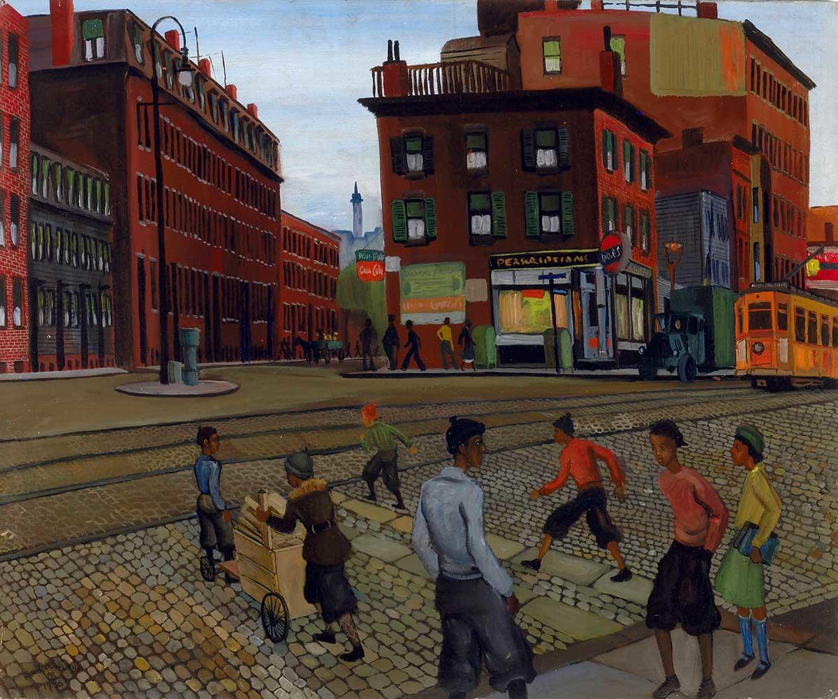 Painting of Frederick Douglass Squre by Allan Rohan Crite