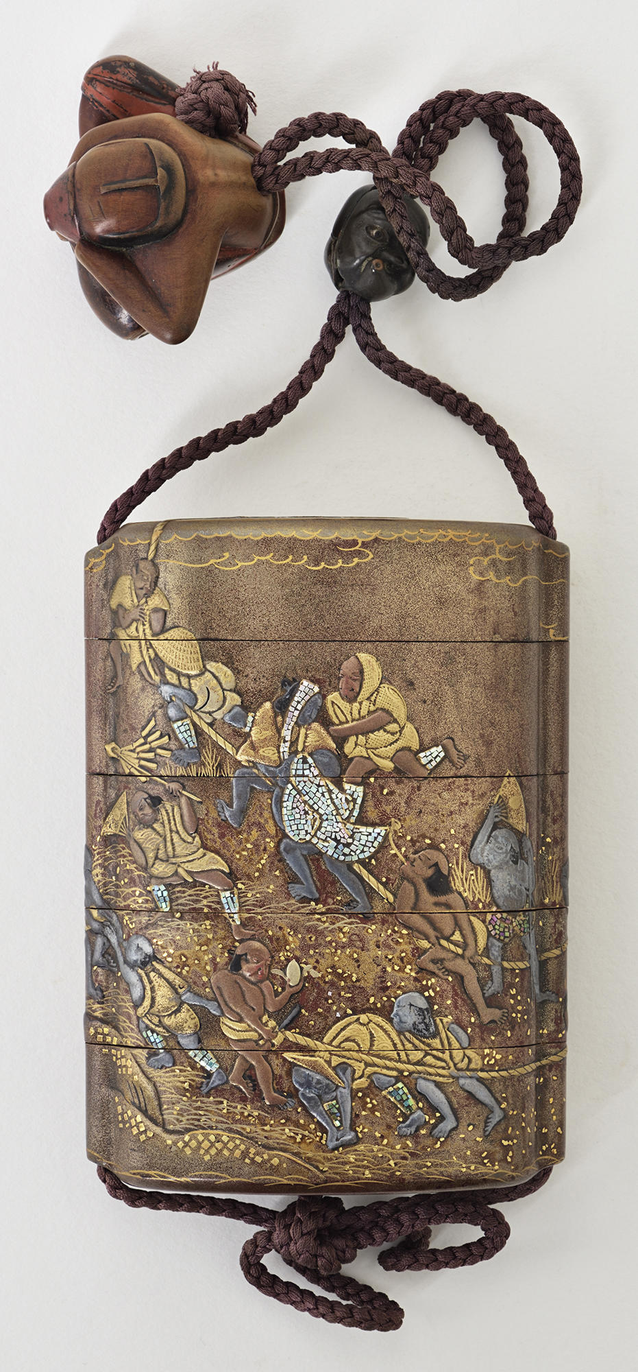 Japanese, Medicine Case (Inrō): Men Pulling a Cart, 18th century. Lacquered wood with gold, silver, and mother-of pearl decoration; with lacquer netsuke and silver, copper, and shibuichi alloy ojime,