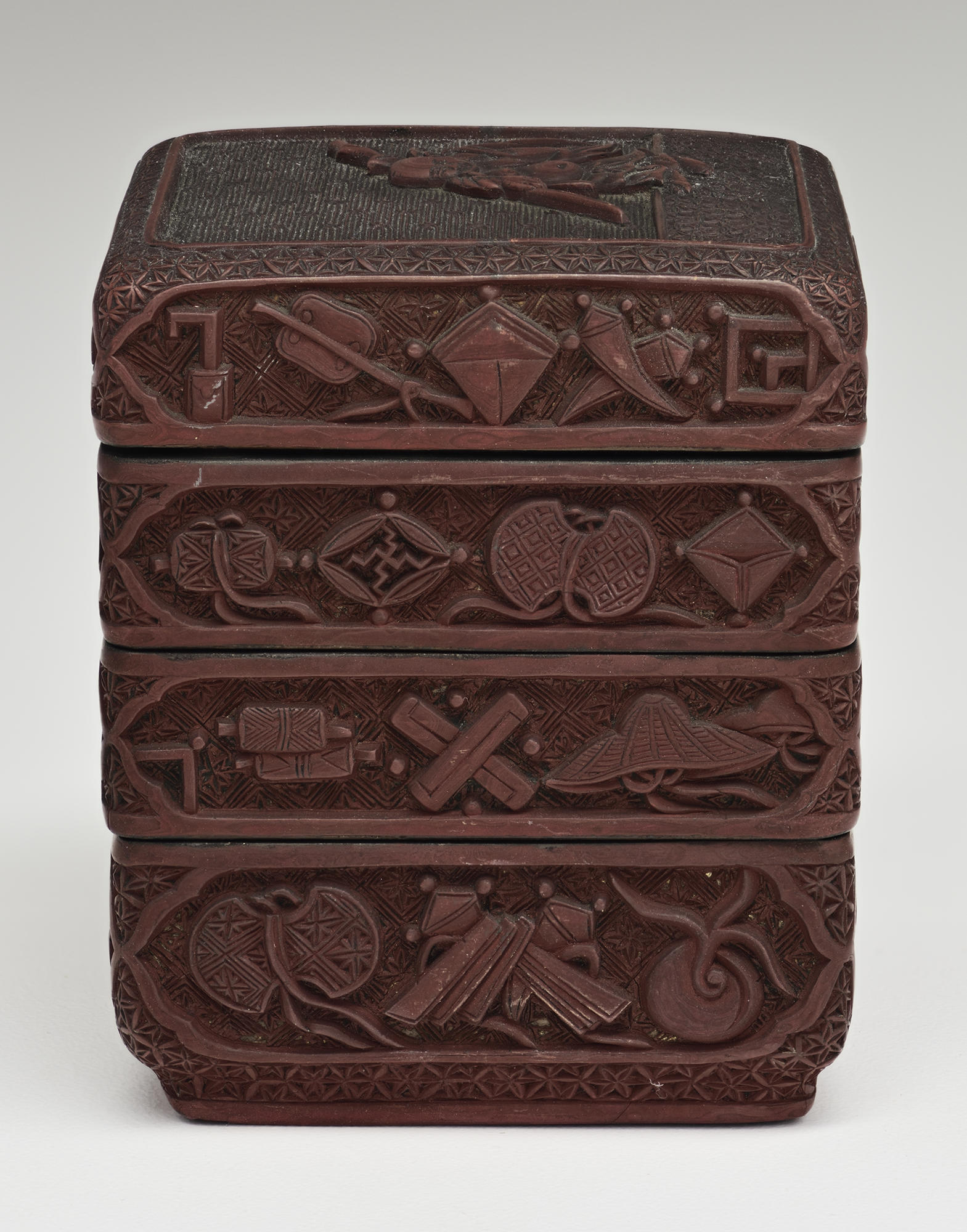 Japanese, Incense Box, early 19th century. Carved red lacquer (tsuishu)