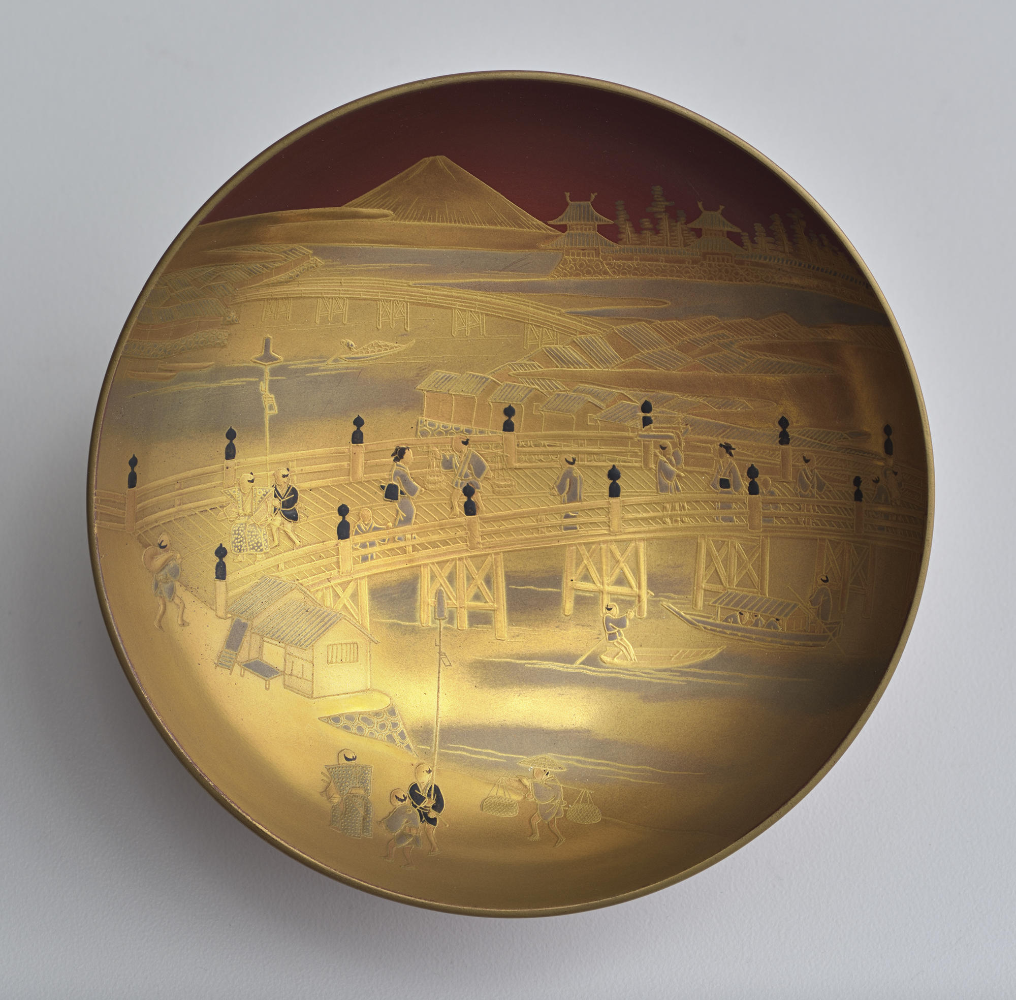 Japanese, Saké Cup: Nihon-bashi and Mt. Fuji, mid-19th century. Lacquered wood (hiramakié)
