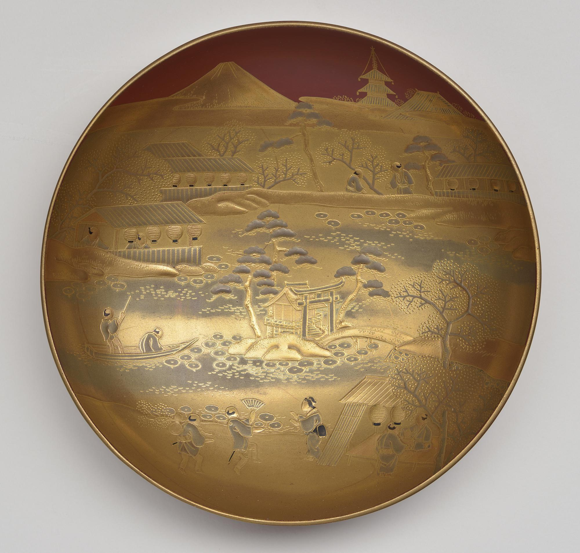 Japanese, Saké Cup: Shinobazu Pond and Mt. Fuji, 19th century. Lacquered wood (hiramakié)