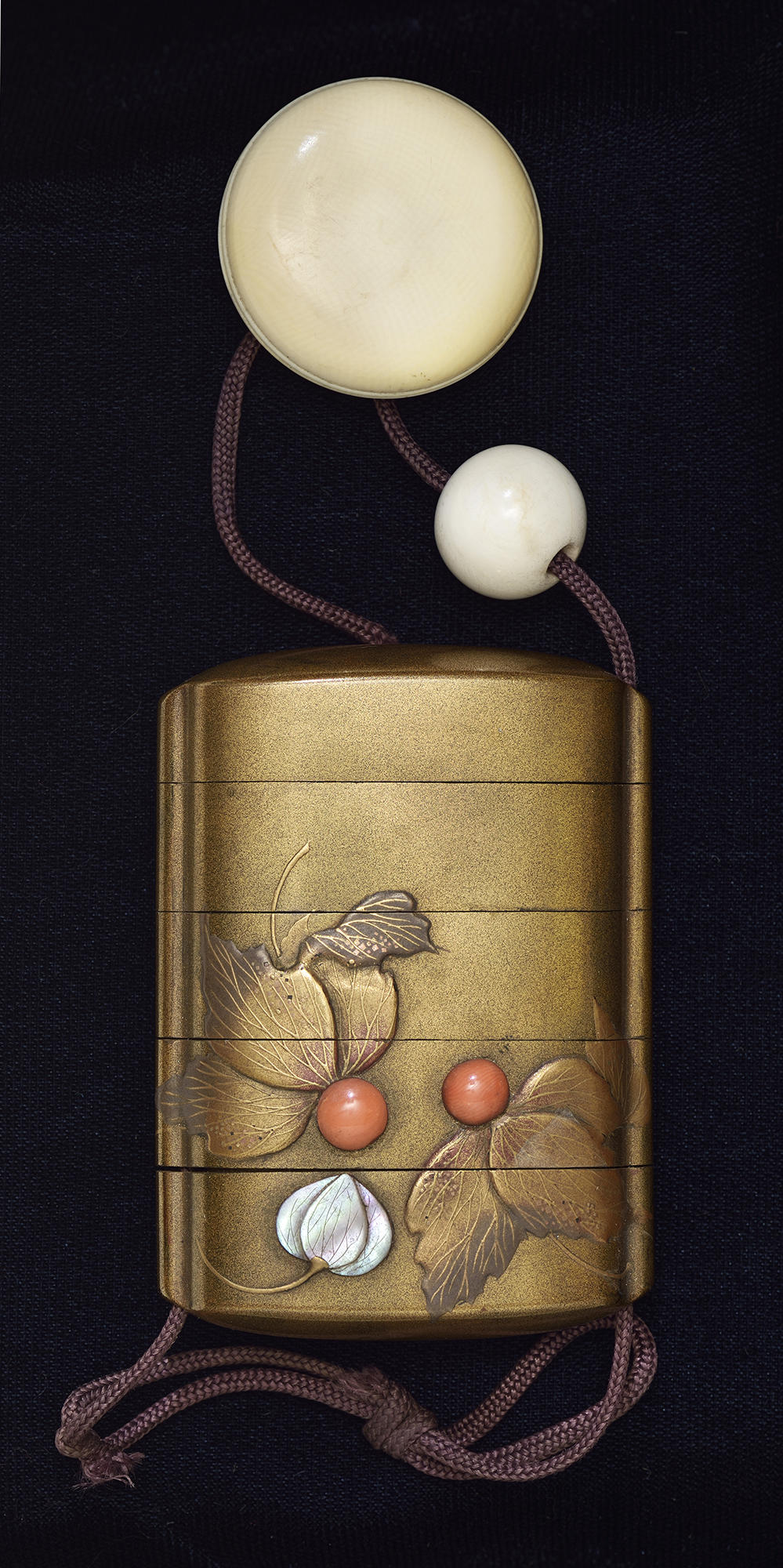 Japanese, Medicine Case (Inrō): Lantern Plant, late 19th century. Lacquered wood and gold with mother-of-pearl, coral, and lead inlays; ivory netsuke and ojime