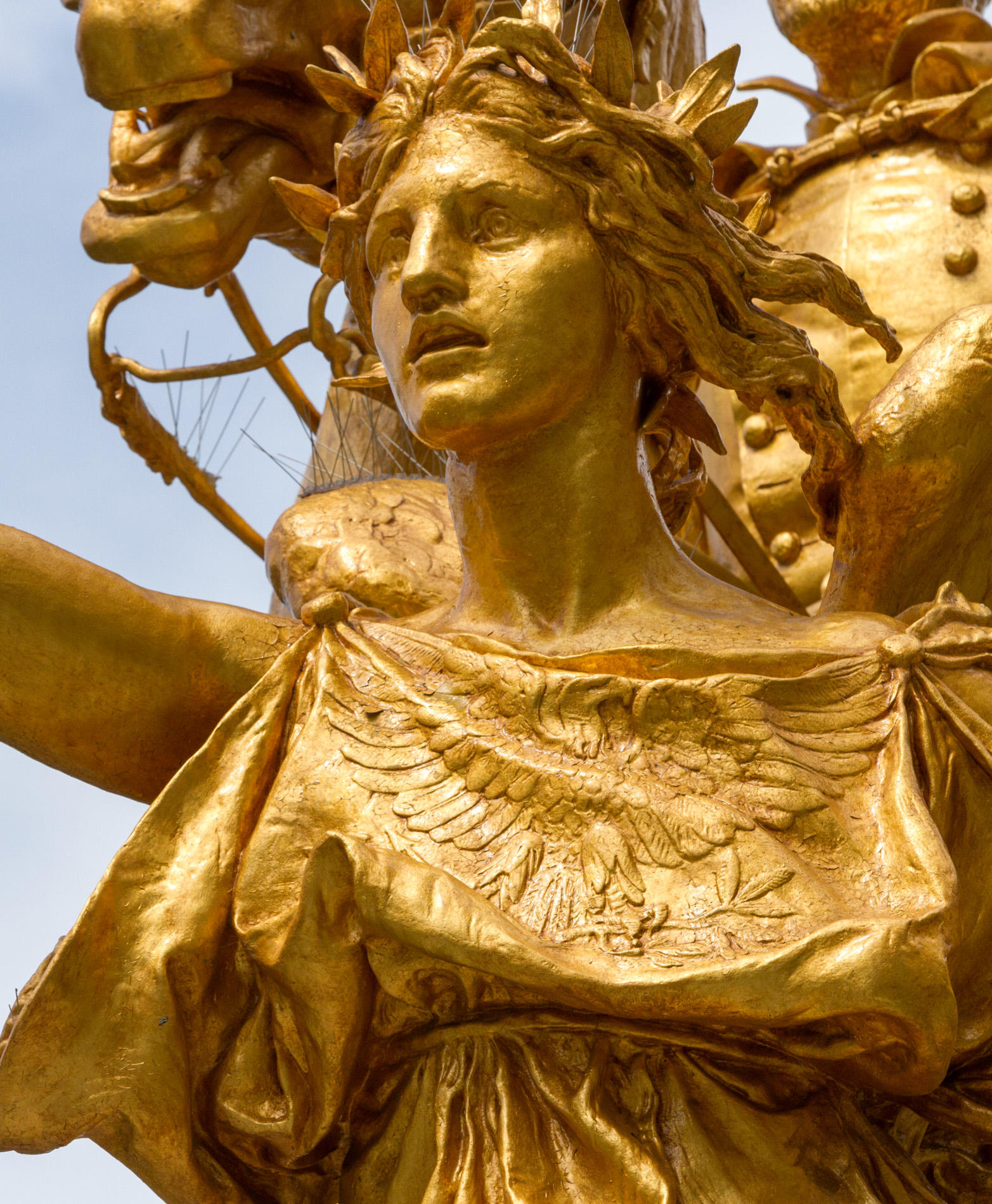 Detail showing the personification of Victory, modeled by Hettie Anderson, in Augustus Saint-Gaudens's William Tecumseh Sherman Monument