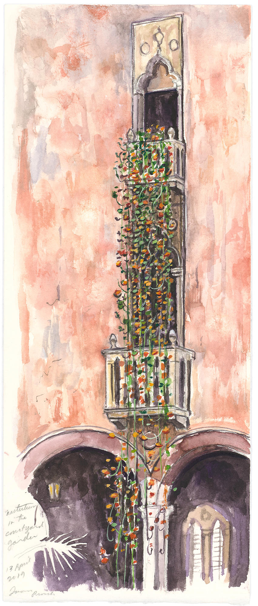 A watercolor painting of the nasturtiums at the Isabella Stewart Gardner Museum