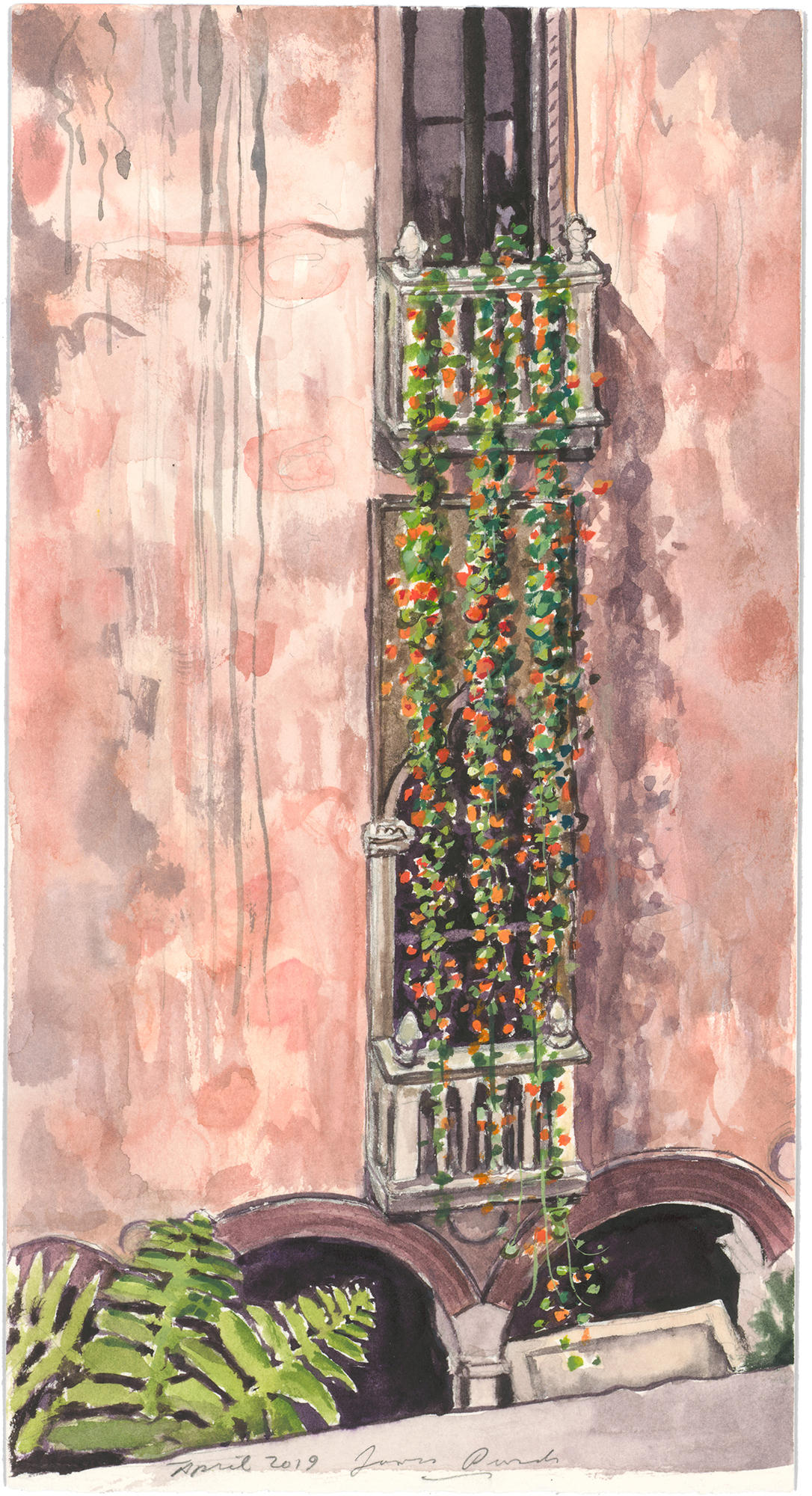 A closer view of a watercolor painting of nasturtiums at the Isabella Stewart Gardner Museum