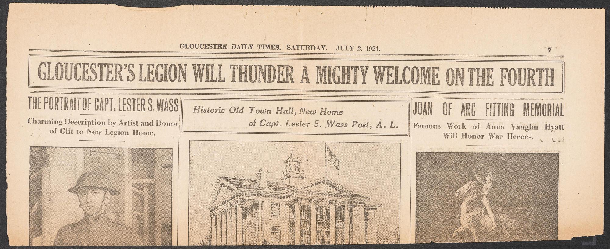 A headline on an old newspaper