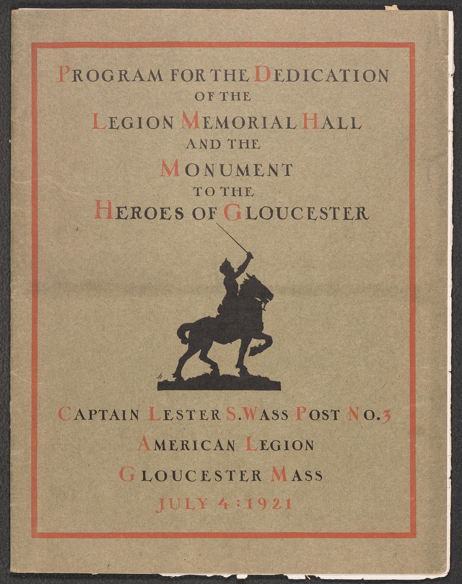 An old weathered program for the Dedication of Legion Memorial Hall