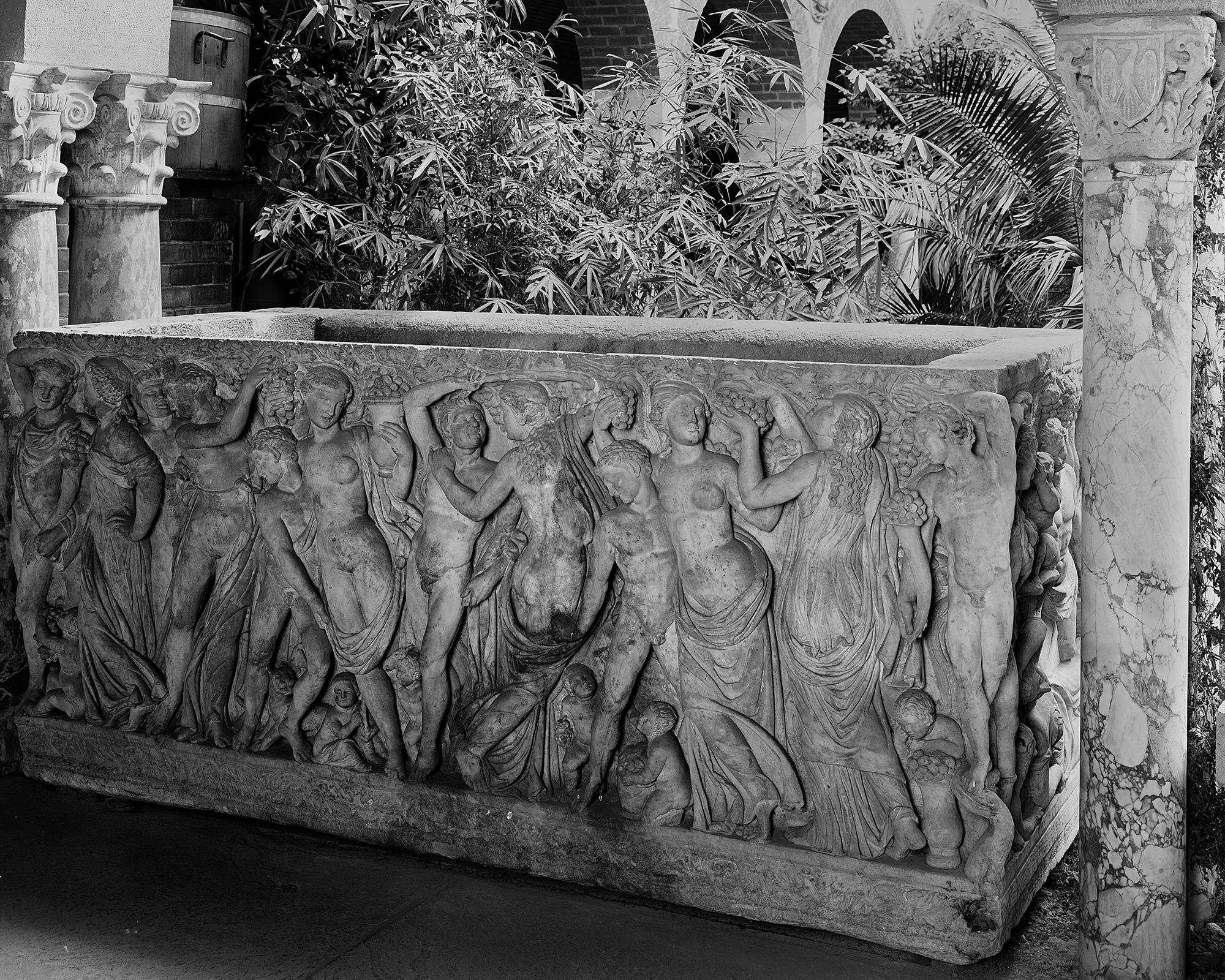 Black and white photo of the sarcophagus