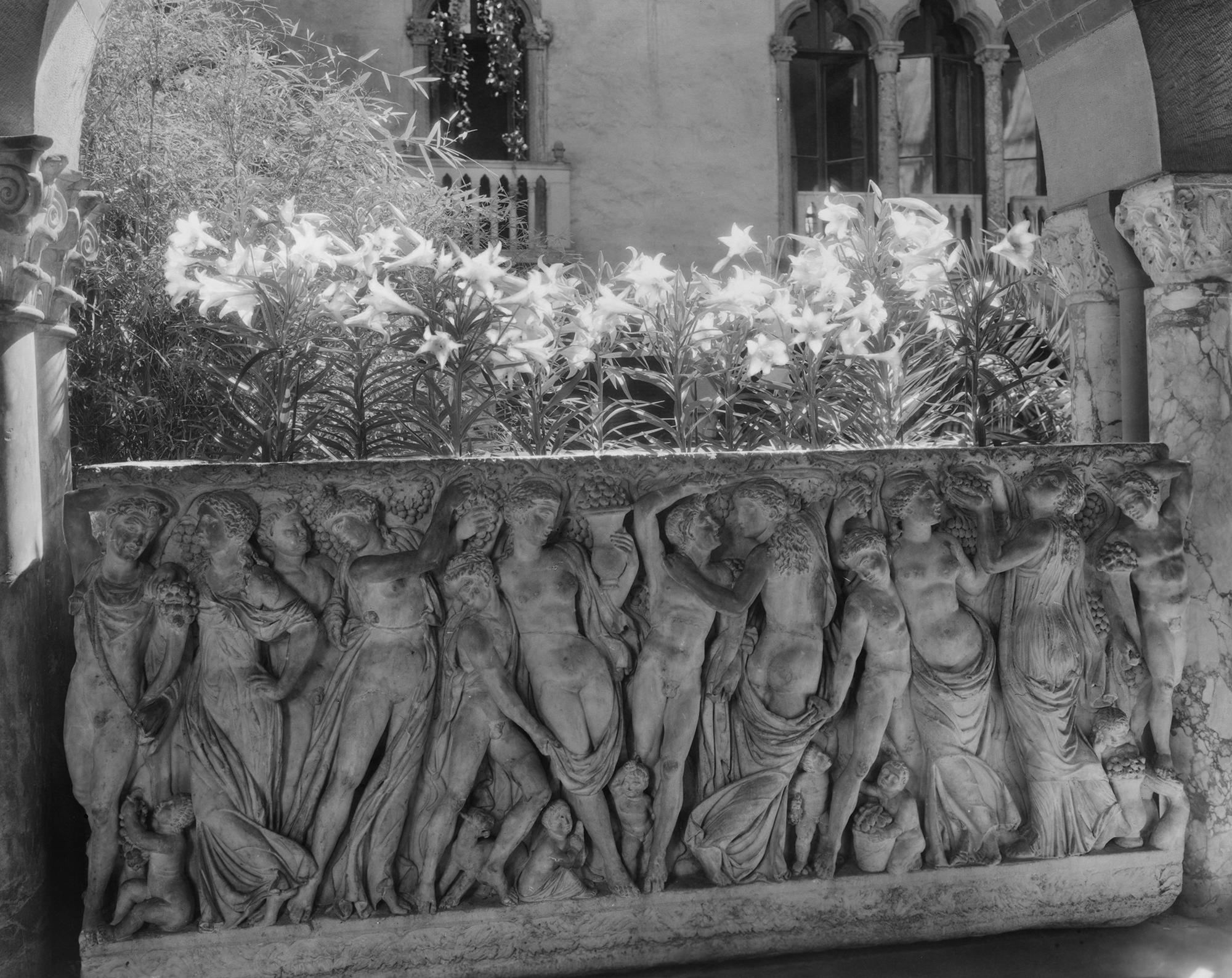 Another angle of the sarcophagus in black and white