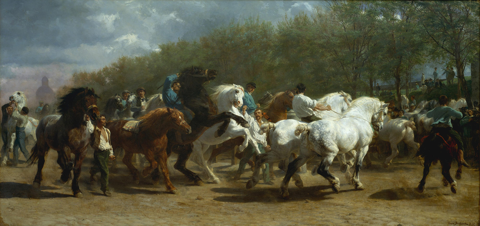 A painting of wild horses running