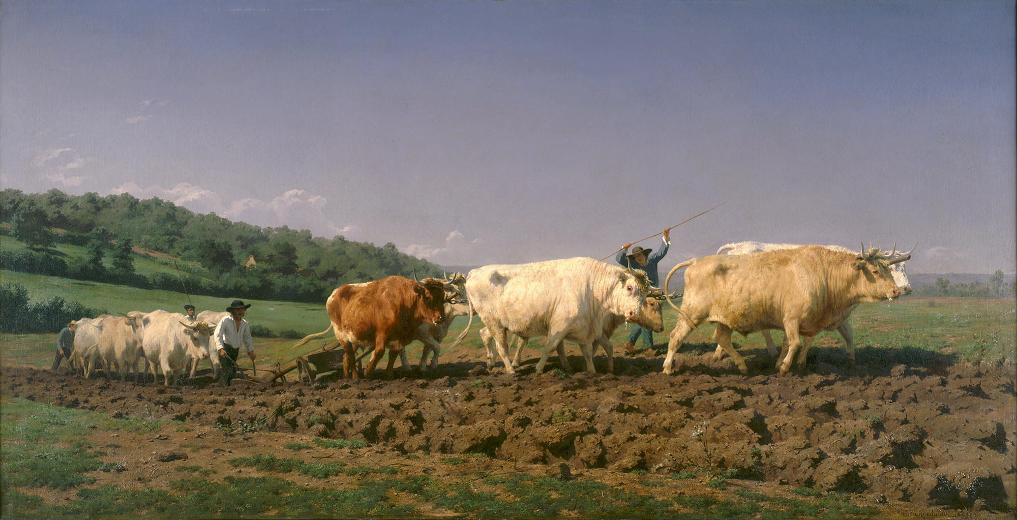 A painting of cows in a field