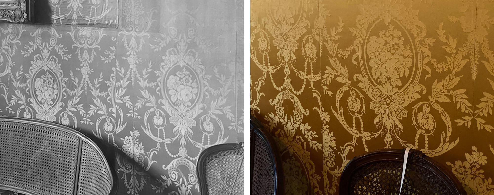 A black and white photo of the walls in the Yellow room on the left, with a yellow vibrant wall on the right.