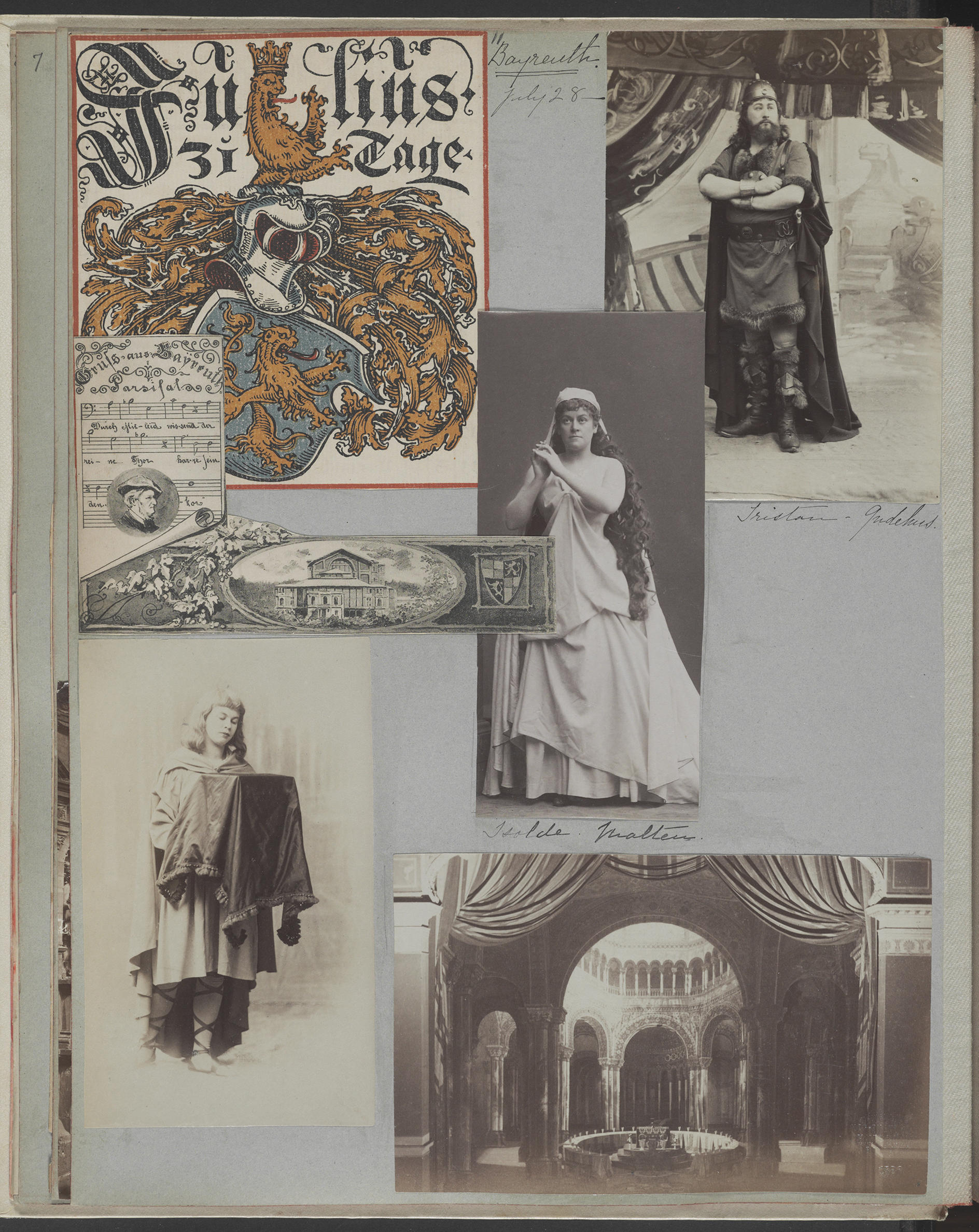 A scrapbook page with many photos of Isabella.
