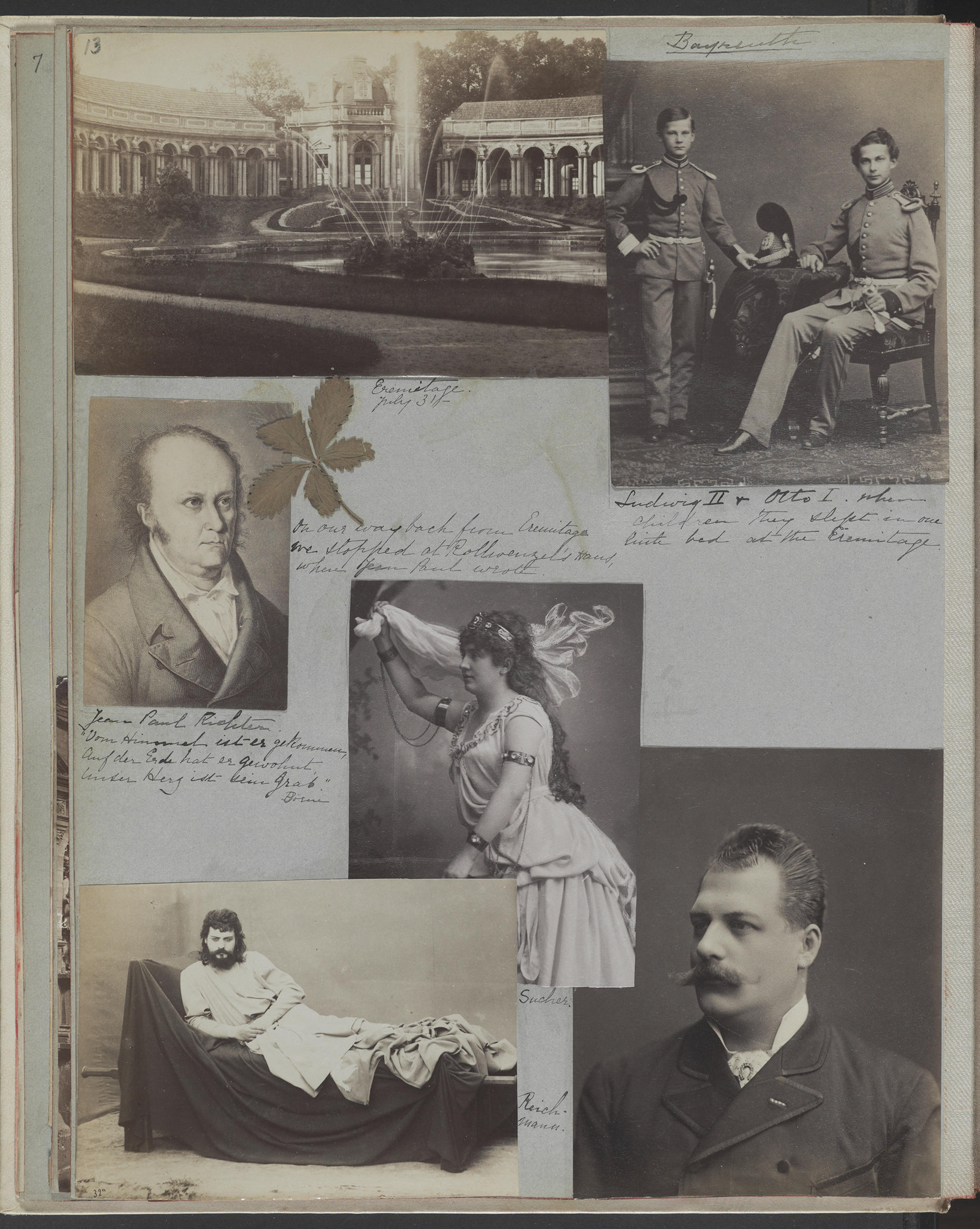 Several photos of men on a page wtihin a scrapbook.
