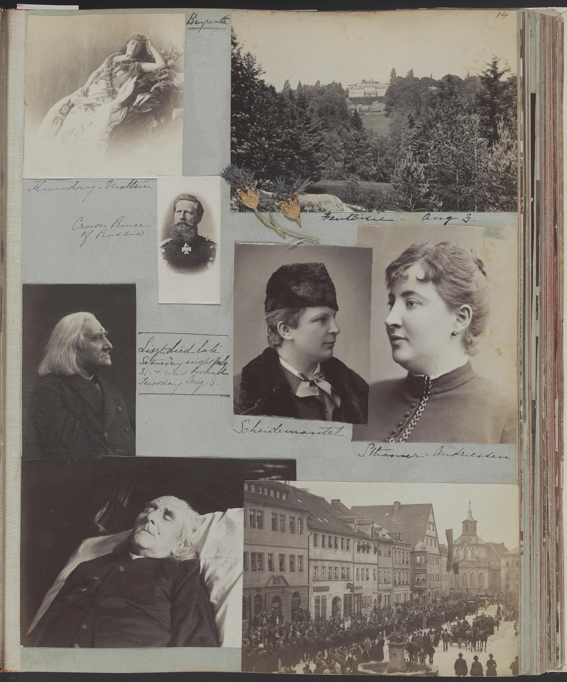 A page from a scrapbook with pictures of people.