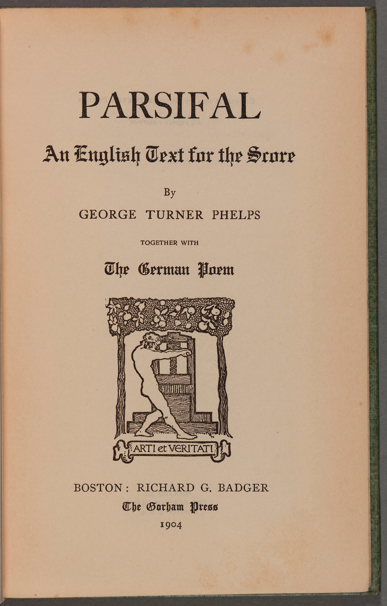 Parsival an English text title page.