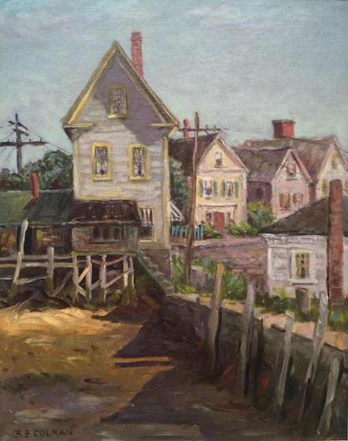 A painting of a wharf.