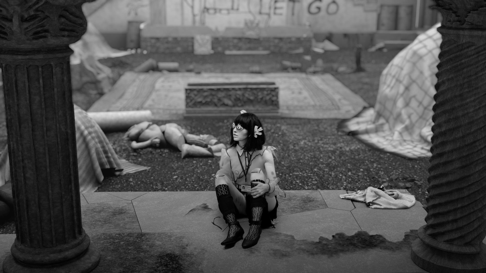 A clip from The Rape of Europa film with Europa sitting on a floor.