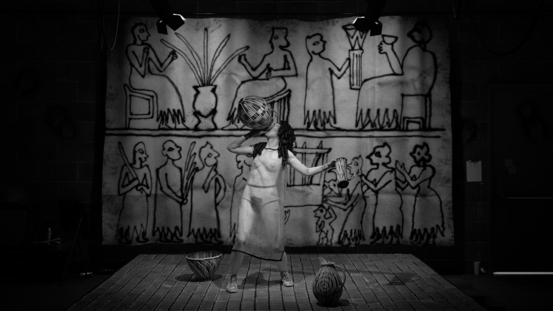 A clip from The Rape of Europa film with a woman drinking from a woven basket.