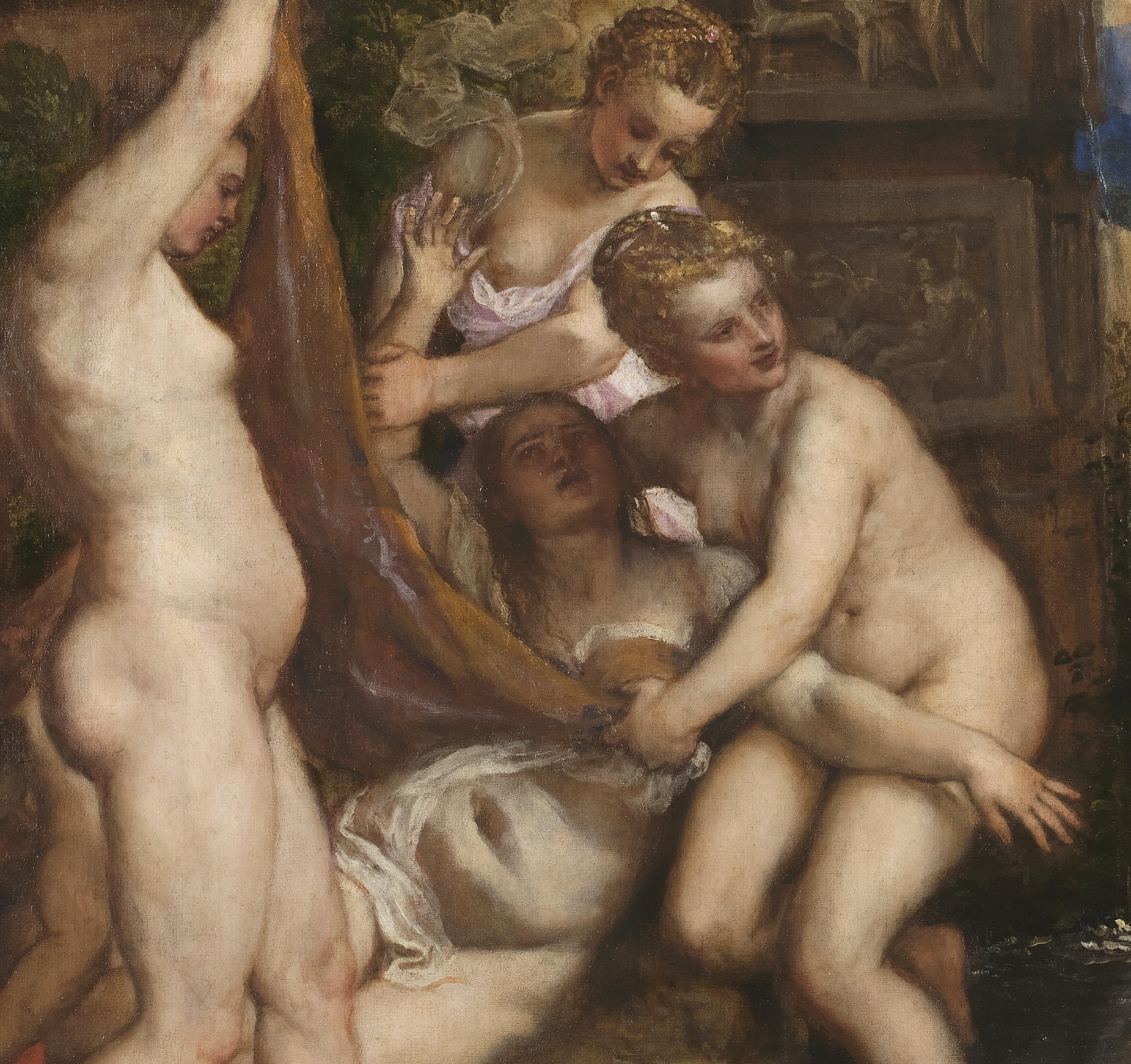 A close up of Callisto in the painting Diana and Callisto by Titian.
