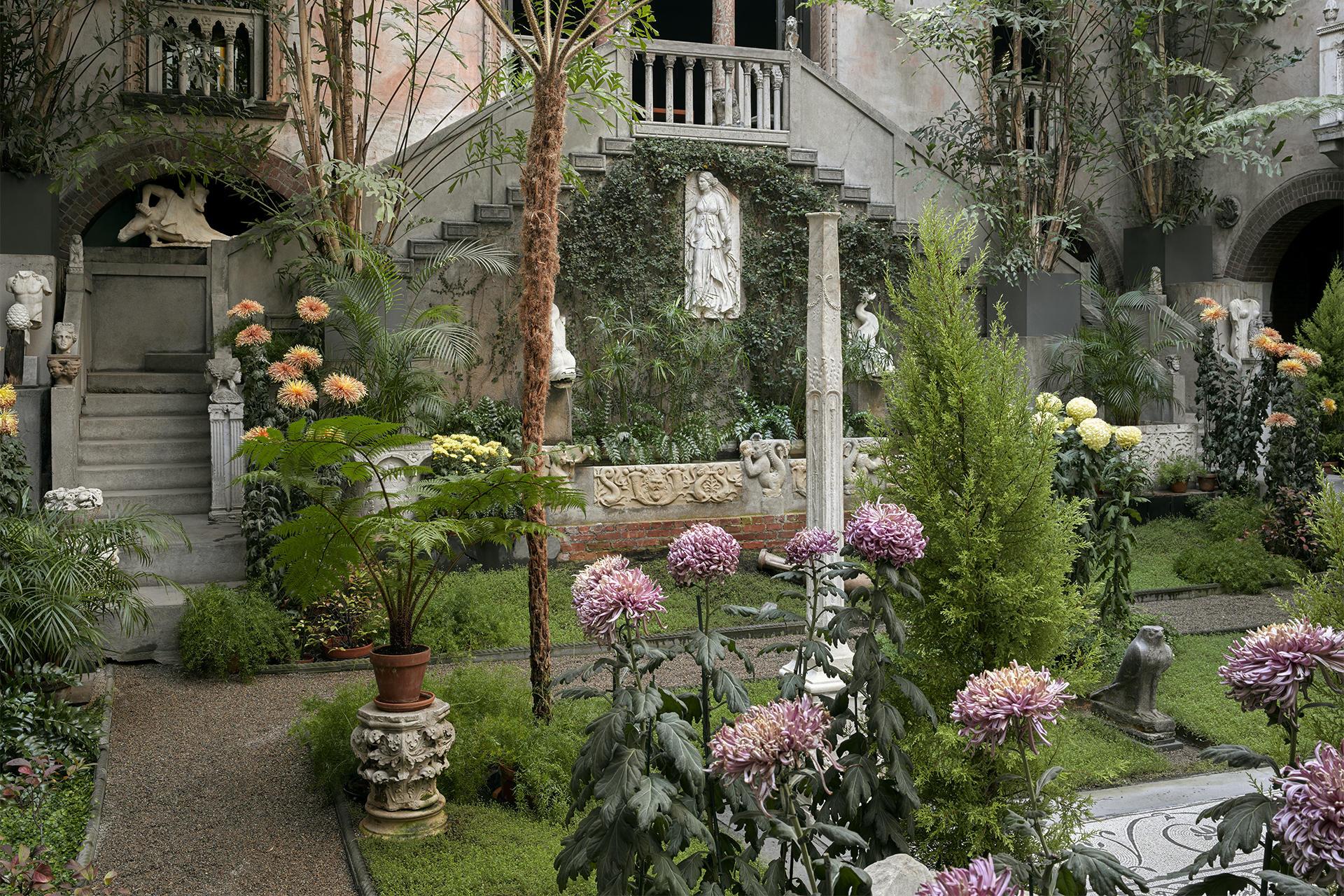 Chrysanthemum courtyard display at the Isabella Stewart Gardner Museum