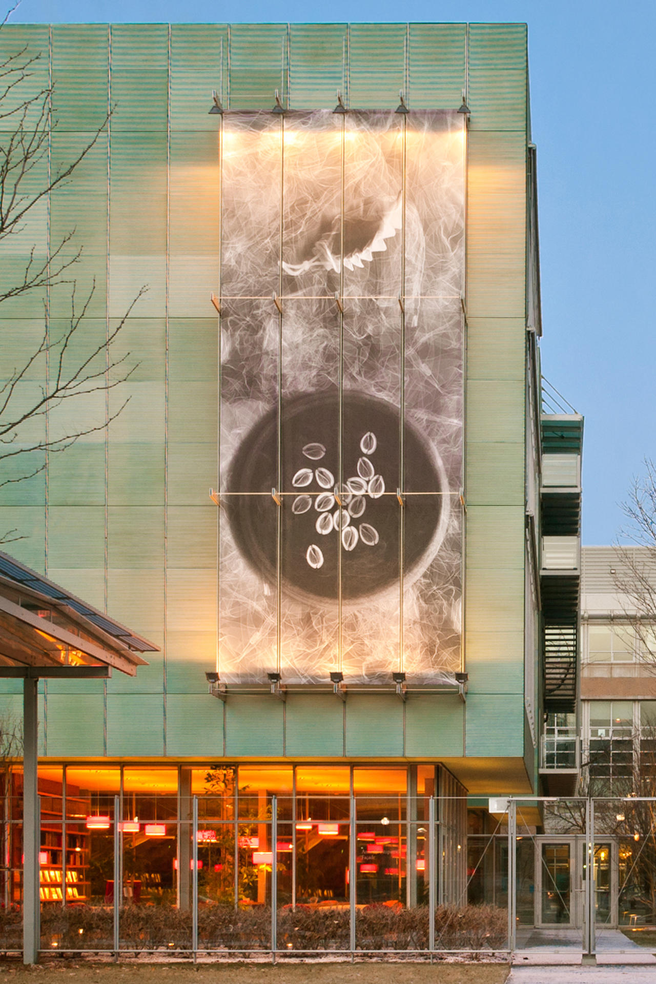 Nari Ward: Divination X on the Anne H. Fitzpatrick Façade on Evans Way