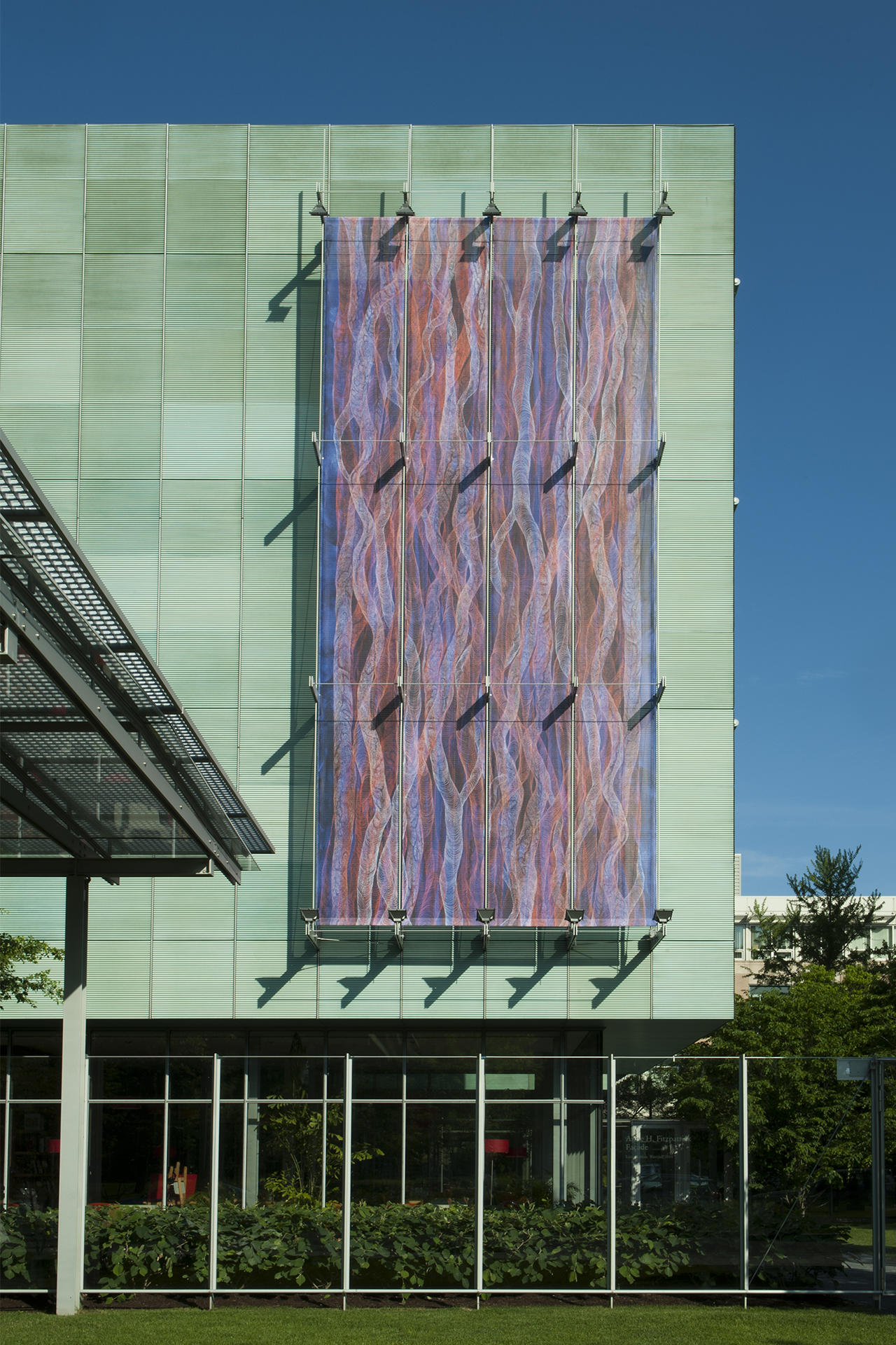 Luisa Rabbia: Waterfall on the Anne H. Fitzpatrick Façade on Evans Way