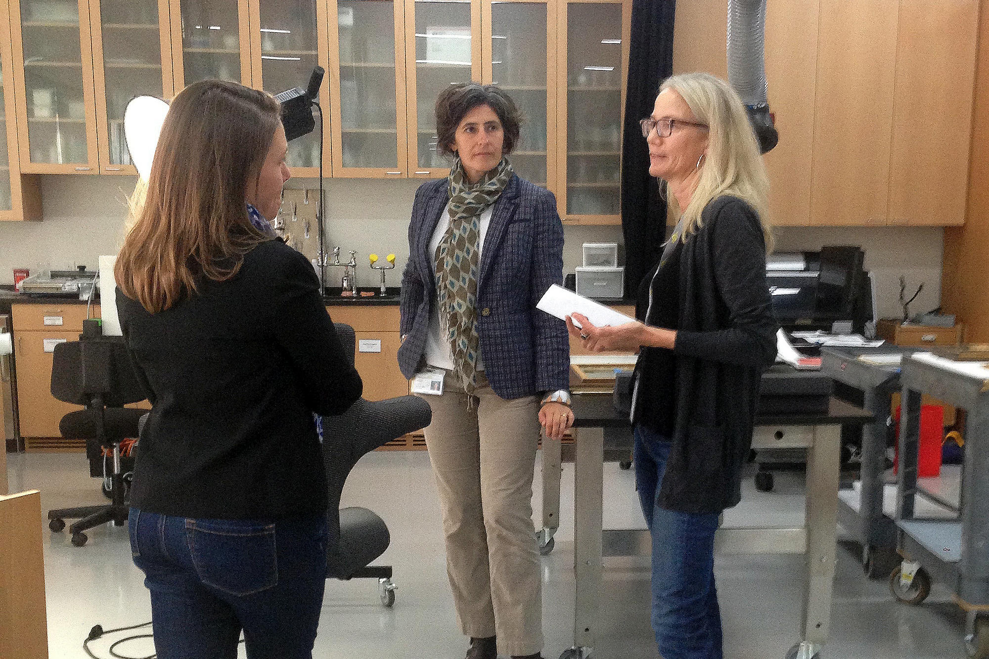 Rachel Perry's visit to the object conservation lab, 2014